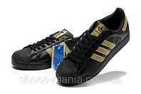 Кроссовки Adidas superstar  Черно-золотые, фото 1