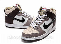 Кроссовки Nike Dunk High  (brown-white)