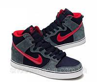 Кроссовки Nike Dunk High 6.0 (grey-black-red)