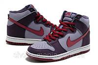 Кроссовки Nike Dunk High  (grey-violet-red)