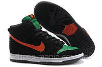 Кроссовки Nike Dunk High  (black-green-red)
