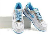 Женские кроссовки Nike Air Force (white-grey-blue), фото 1