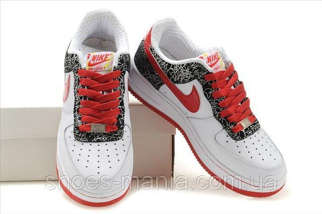 7650fcf2 Женские кроссовки Nike Air Force (white-red-black) - Интернет магазин обуви