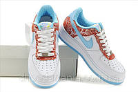 Женские кроссовки Nike Air Force (white-red-blue), фото 1