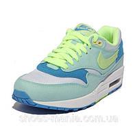 Женские кроссовки  Nike Air Max 87 (white-green-blue), фото 1