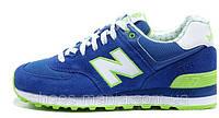 Женские кроссовки New Balance 574 (blue-green-white), фото 1