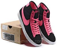 Женские кроссовки Nike Blazer Mid Mesh (pink-black)