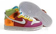 Женские кроссовки Nike DUNK High (white-red-pink-green), фото 1