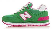 Женские кроссовки New Balance 574 (green-pink)