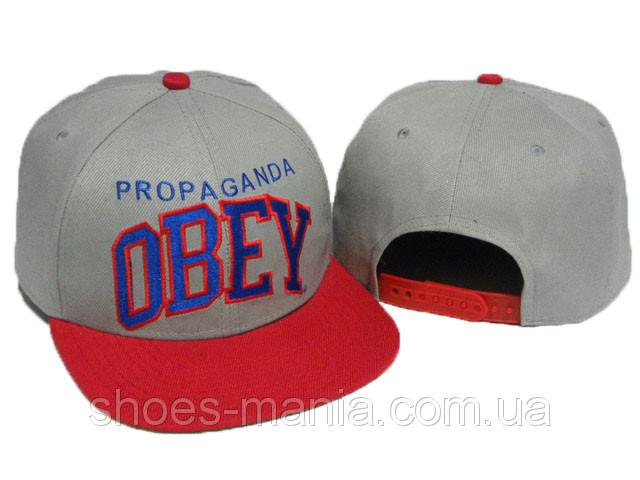 Кепка с прямым козырьком Obey Snapback серо-красная - Интернет магазин  обуви Shoes-Mania 0a5b2e9406238