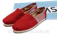 Кеды Toms Classic Slip-On red-white