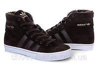 Зимние кроссовки Adidas AdiTennis High коричневые