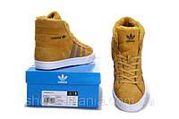 Женские зимние кроссовки Adidas AdiTennis High желтые