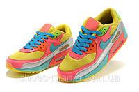 Женские кроссовки Nike Air Max 90 yellow-pink-blue, фото 1