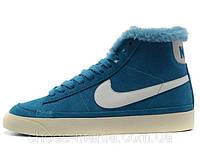 Зимние женские кроссовки Nike Blazer синие N-30032-1