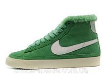 Зимние женские кроссовки Nike Blazer зеленые
