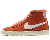 Зимние женские кроссовки Nike Blazer orange