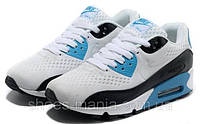 Женские кроссовки Nike Air Max 90 PREMIUM white-black-blue, фото 1