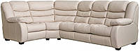 Кожаный раскладной угловой диван Манхетен, бежевый (306 см)