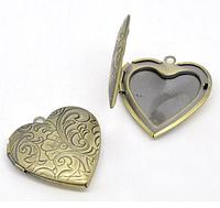 Медальон-сердце ,  1шт.  бронза
