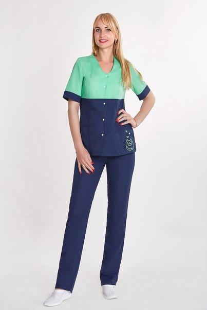 Жіночий медичний костюм Роксолана хб, велика різноманітність кольорів, р. 42-56