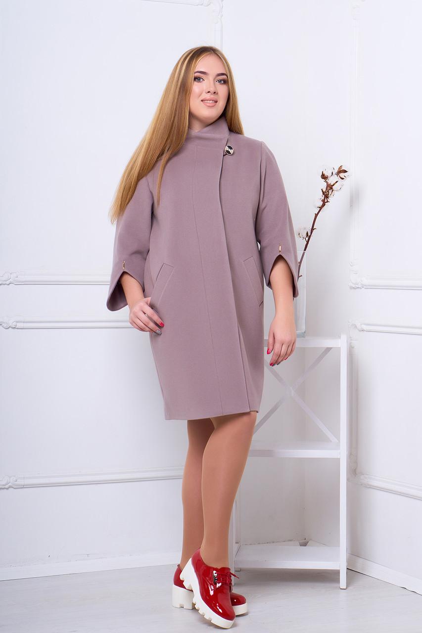 Женское пальто осень весна 404 кофейный большие размеры 52-58 размеры -  Интернет-магазин a66f01c192a77