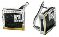 Серебряные серьги с золотыми накладками Катрин.