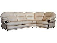 Угловой кожаный диван Орландо, бежевый (323 см)