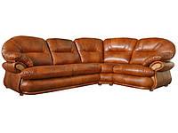Угловой кожаный диван Орландо, коричневый (323 см)