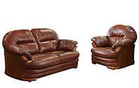 Кожаный комплект мебели Нью-Йорк: диван+кресло, коричневый