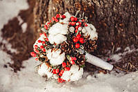 Свадебный букет с хлопком (зимний)
