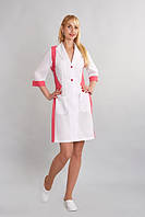Женский медицинский халат Хризантема х-б,белый+цветные вставки р.42-56