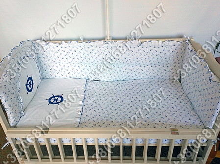 Детское постельное белье в кроватку с вышивкой Штурвал, комплект 7 ед., фото 2