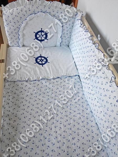 Детское постельное белье в кроватку с вышивкой Штурвал, комплект 7 ед.