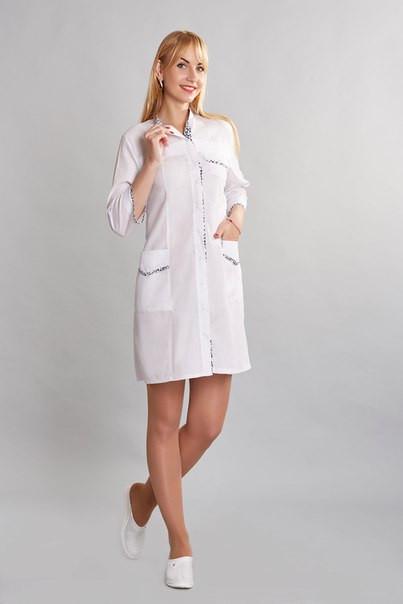 Жіночий медичний халат Муза х-б,білий р. 40-50
