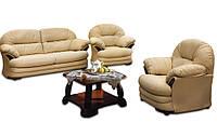 Кожаный комплект мебели Нью-Йорк: диван+кресло, бежевый