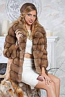 """Полушубок жилет из светлой куницы """"Грета"""" marten fur coat jacket, фото 1"""