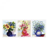Триптих  Три букета в круглих вазах