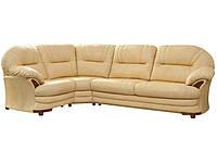 Кожаный угловой диван для гостиной Нью-Йорк, бежевый (223 см)
