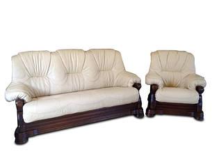 Кожаный комплект мебели с двумя креслами Барон (3р + 1 + 1), мягкая мебель, мебель в коже, кожаная мебель, фото 2