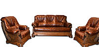 """Классический кожаный комплект мебели """"Кардинал 5030"""" 3р-1-1, раскладной диван и 2 кресла"""