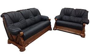 Кожаный комплект мебели с двумя креслами Барон (3р + 1 + 1), мягкая мебель, мебель в коже, кожаная мебель, фото 3