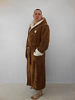 Мужской махровый халат с двойным капюшоном коричневый+бел. пушистая махра