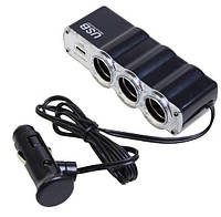 Авторазветвитель 3x порта 12v, 1x USB