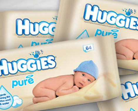 Вологі дитячі серветки Huggies Pure 64 шт., фото 2