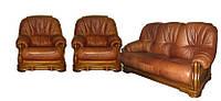 Комплект кожаной мебели Барон (3н + 1 + 1), нераскладной диван + два кресла
