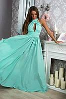 Длинное платье в пол с воротником-стойка