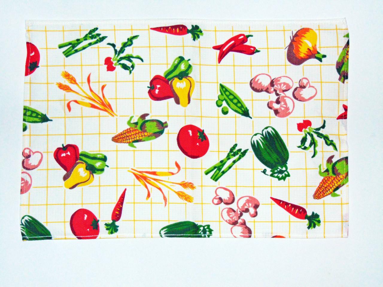 """Кухонное вафельное полотенце """"овощи"""" 55х35см"""
