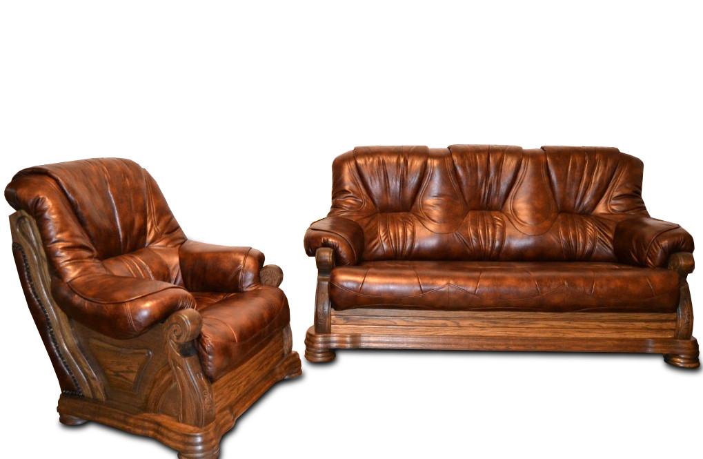 """Комплект шкіряних меблів """"Віконт 5030"""": диван + крісло"""