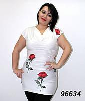 Туника белая с розами
